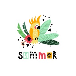 Bright summer illustration with parrot decorated with tropical plants and text summer. Summer vacation design. Background with hand drawing vector elements and lettering.