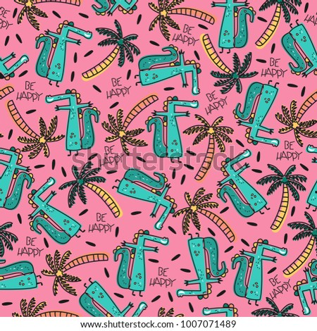 Bright summer seamless vector pattern with cartoon crocodiles and palm trees. Background in tropical style with the words