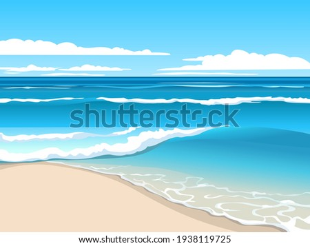 Bright summer seascape. Blue waves rolling on the sand beach. Stock photo ©