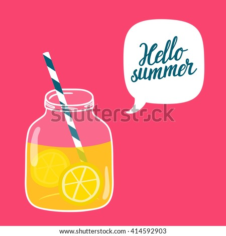 Bright summer vector background with glass jar with lemonade, speech bubble and hand written text \