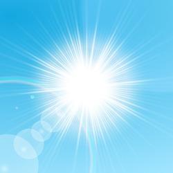 Bright sun shining in the blue sky. Vector illustration