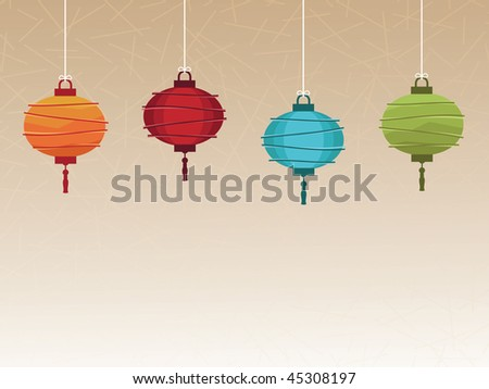 bright traditional lanterns with space for text