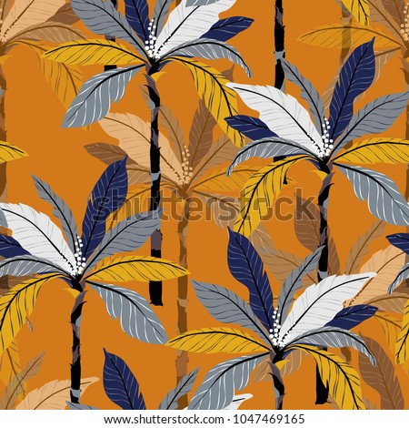 Bright Tropical jungle and colorful palm leaves, trees seamless pattern vector floral pattern on vintage orange background