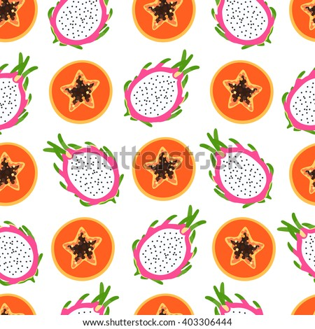 Bright tropical pattern with papaya and dragon fruit, half of a sectional with seeds on a white background. Vector illustration.