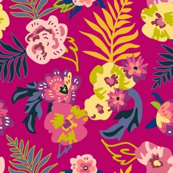 Bright tropical plants on red background. Sketchy floral print. Seamless pattern with large flowers. Vintage textile collection.