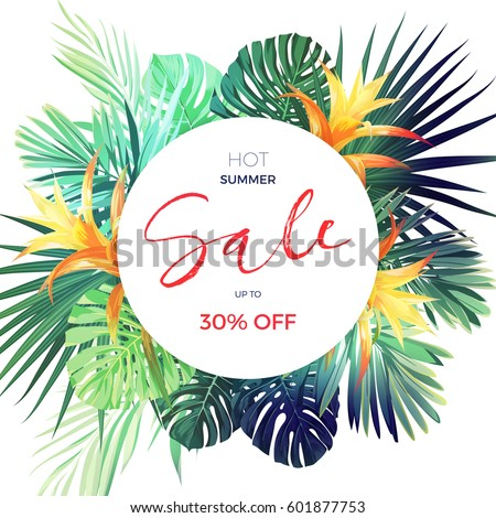 Bright tropical sale flyer template with palm leaves and flowers.
