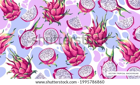 Bright vector background for desktop on computer, tablet, phone with tropical fruits of cactus Pitaya, Dragon Fruit. Detailed hand-drawn plants on background of colored dots. Cover for social networks