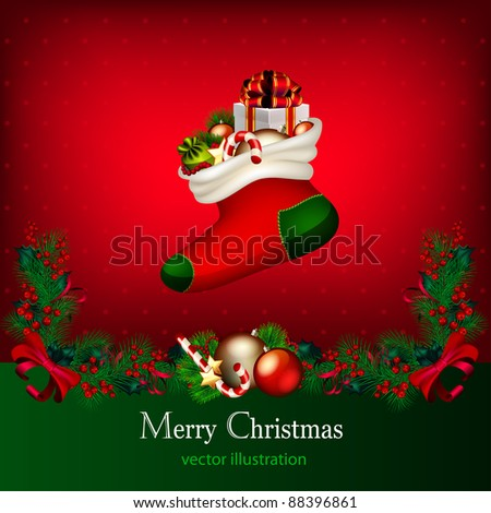 Bright vector Christmas background with garland from fir-tree branches and gifts