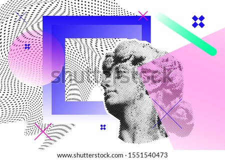Bright vector collage with old sculpture of a woman's head, universal graphic Elements, Geometric Shapes, Dotted Halftone Objects for your design stock photo