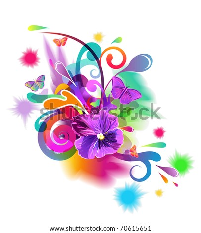 Bright vector composition with flowers, butterfly and abstract pattern