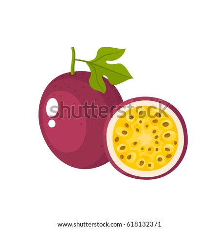 Bright vector illustration of colorful half and whole of passion fruit. Fresh cartoon exotic passion fruit isolated on white background.