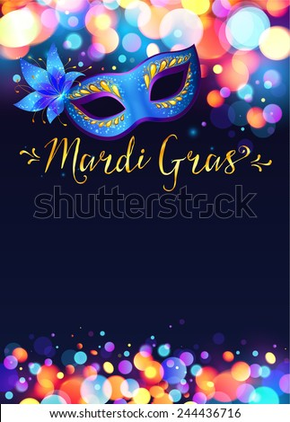 Bright vector Mardi Gras poster template with bokeh effect lights and blue carnival mask