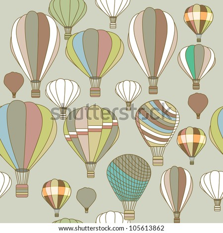 Bright vector seamless texture with multicolor balloons