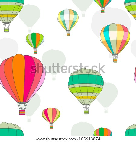 Bright vector seamless texture with multicolor balloons - stock vector
