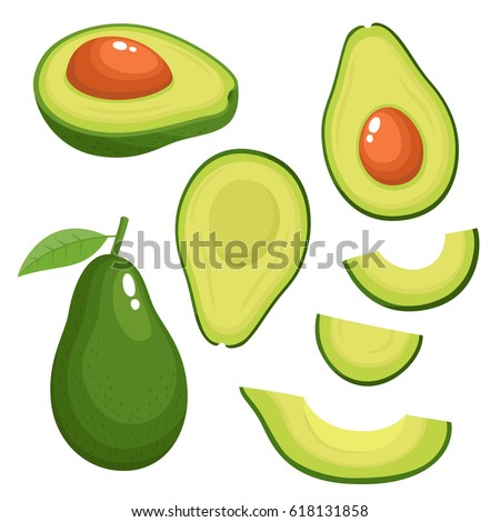 Bright vector set of colorful half, slice and whole of fresh avocado. Fresh cartoon avocados isolated on white background.