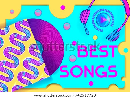 Bright vector template of web banner for radio, cover, party flyer, catalog, fest invitation. Sweet colors, vinyl record, headphones, quote best songs . Futuristic, memphis style with trendy shapes.
