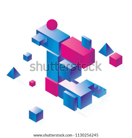 Bright vowel letter E concept in isometry style. Bright blocks drawn with gradient, good for decoration and creative lettering