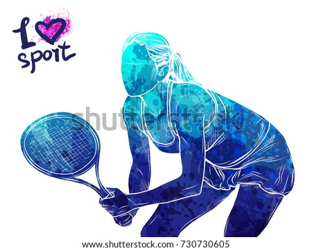 Bright watercolor silhouette of tennis player. Vector sport illustration. Graphic figure of the athlete. Active people. Recreation lifestyle. Women. Logo I love sport.
