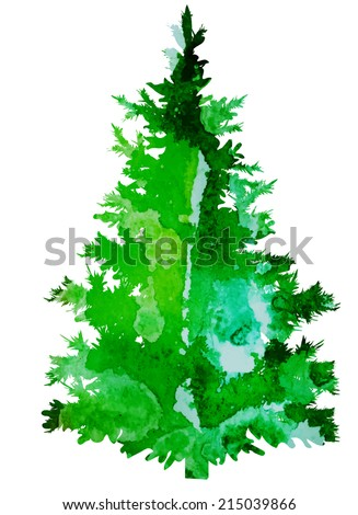 bright watercolor vector Christmas tree