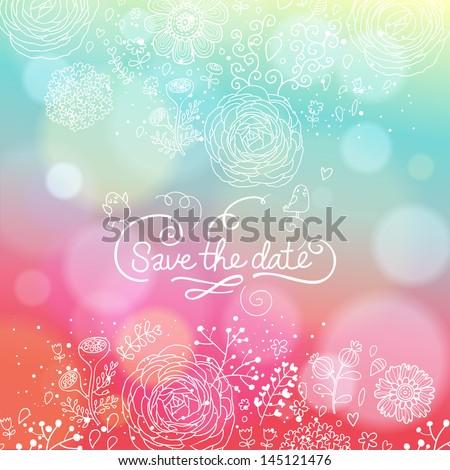 bright wedding invitation in