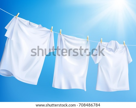 Bright white clothes hanging out on washing line, isolated on clear blue sky in 3d illustration