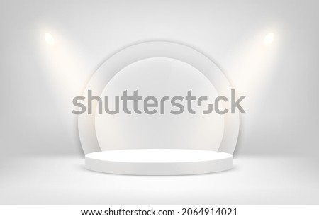 Bright white interior scene with soffits and empty bright stage