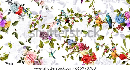 Bright wide vintage seamless background pattern. Rose, peony, poppy with humming birds around. Stylized on white. Abstract, hand drawn, vector - stock.