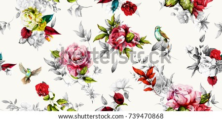 Bright wide vintage seamless background pattern. Rose, peony with leaves and nightingales around. Stylized on white. Abstract, hand drawn, vector - stock.