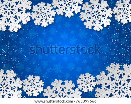 Bright winter blue paper cut out background with snowflake decoration. Vector illustration