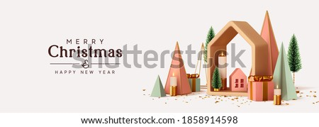 Bright Winter holiday composition. Christmas and New Year background. Xmas pine fir lush tree. Abstract 3d decor geometric objects, house, candles, gifts. Horizontal website header or banner. vector
