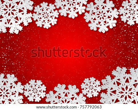Bright winter red paper cut out background with snowflake decoration. Vector illustration