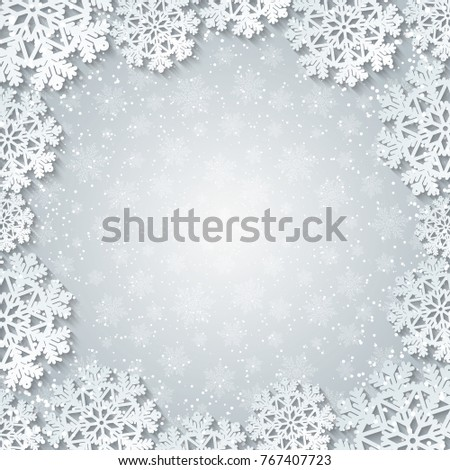Bright winter square frame with paper cut out snowflake decoration. Vector illustration