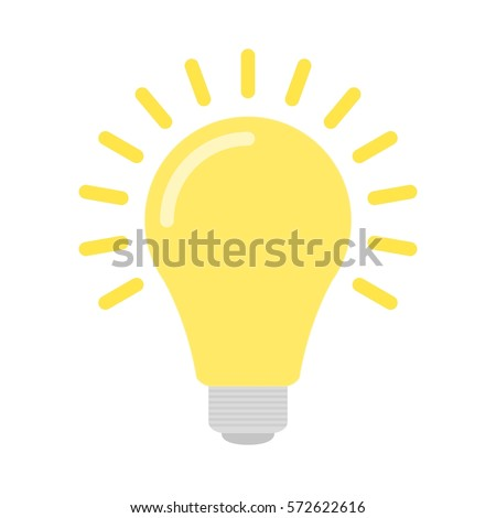 Stock Photo Bright yellow flat bulb with light isolated on white background