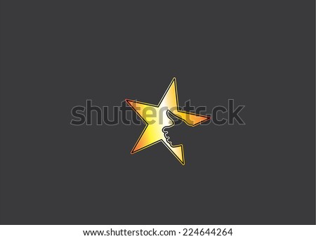 bright yellow golden colorful star icon with thumb up social media human hand in dark black background - great or cool prize achievement success award badge or leader leadership concept symbol art
