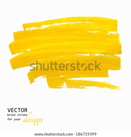 Bright yellow vector brush stroke hand painted background
