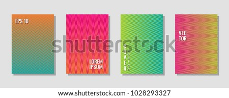 Bright zig zag lines gradient texture curves background for musical cover. Wavy stripes and zig zag vector halftone lines texture journal covers collection in green, orange, pink, blue colors. #1028293327