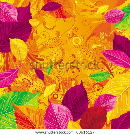 Brightly colored autumn leaves on the gold floral background