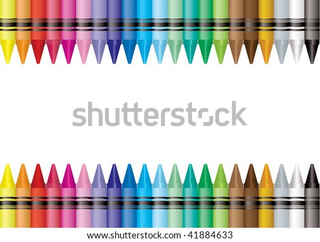 Brightly colored crayon border with room to add your own text