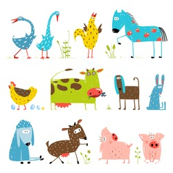 Brightly Colored Fun Cartoon Farm Domestic Animals Collection for Kids. Countryside amusing vivid cottage baby animals illustration for children. Vector EPS10.