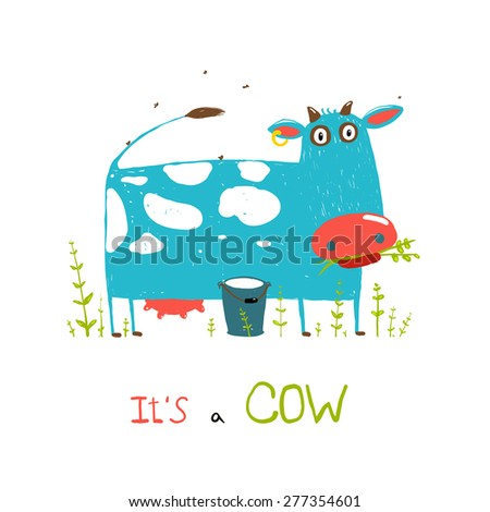brightly colored fun cow and