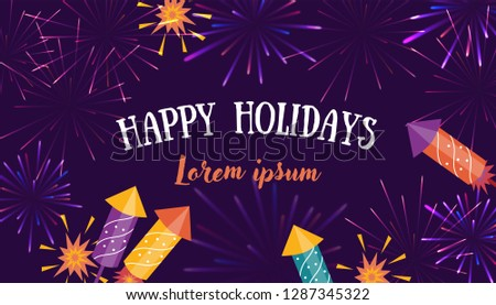 Brightly colorful Fireworks and rockets on purple background. Good for banners, flyers, greetings cards. #1287345322