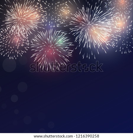 Brightly Colorful Fireworks on twilight background