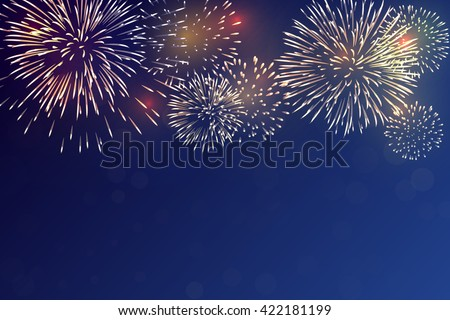 Brightly Colorful Fireworks on twilight background stock photo