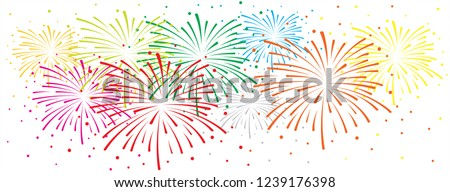 Brightly New year fireworks firework sky winter landscape with falling snow Vector vintage blurred background  panorama party celebration events Hello Winter december Merry Christmas xmas loading
