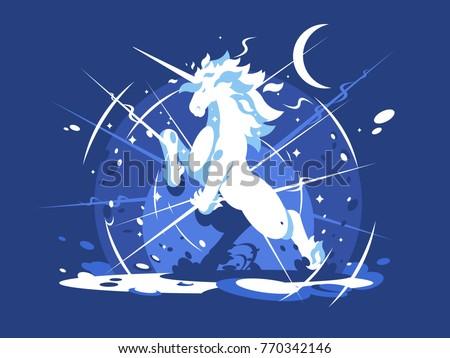 Brightly shining unicorn mythical beast. Animal horse with horn. Vector illustration