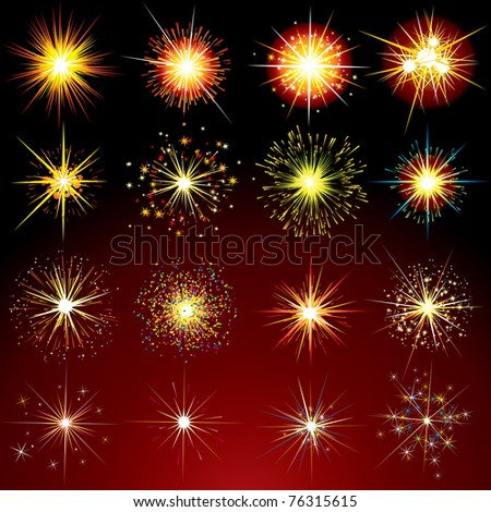 Brightly Stars, Flashes, Fireworks, Sparks and Flares variation - isolated vector design elements