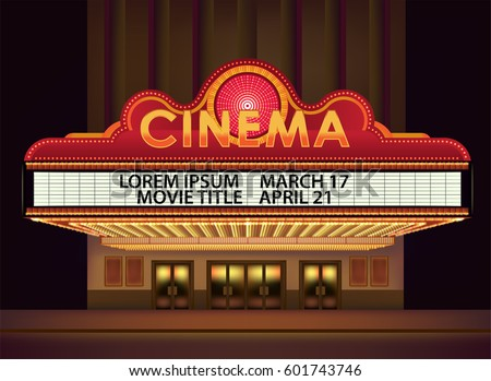 Brightly theater glowing retro cinema neon sign. Old Cinema banner. Vector cinema background. Isolated on white background