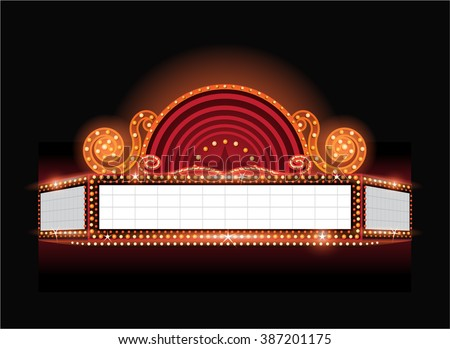 Brightly vector theater glowing retro cinema neon sign