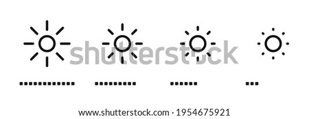 Brightness control icons set. Brightness icons with varying levels on white background. Contrast level icon. Screen brightness and contrast level settings icon. Vector illustration. EPS 10
