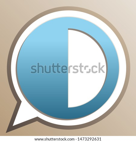 Brightness sign. Bright cerulean icon in white speech balloon at pale taupe background. Illustration.
